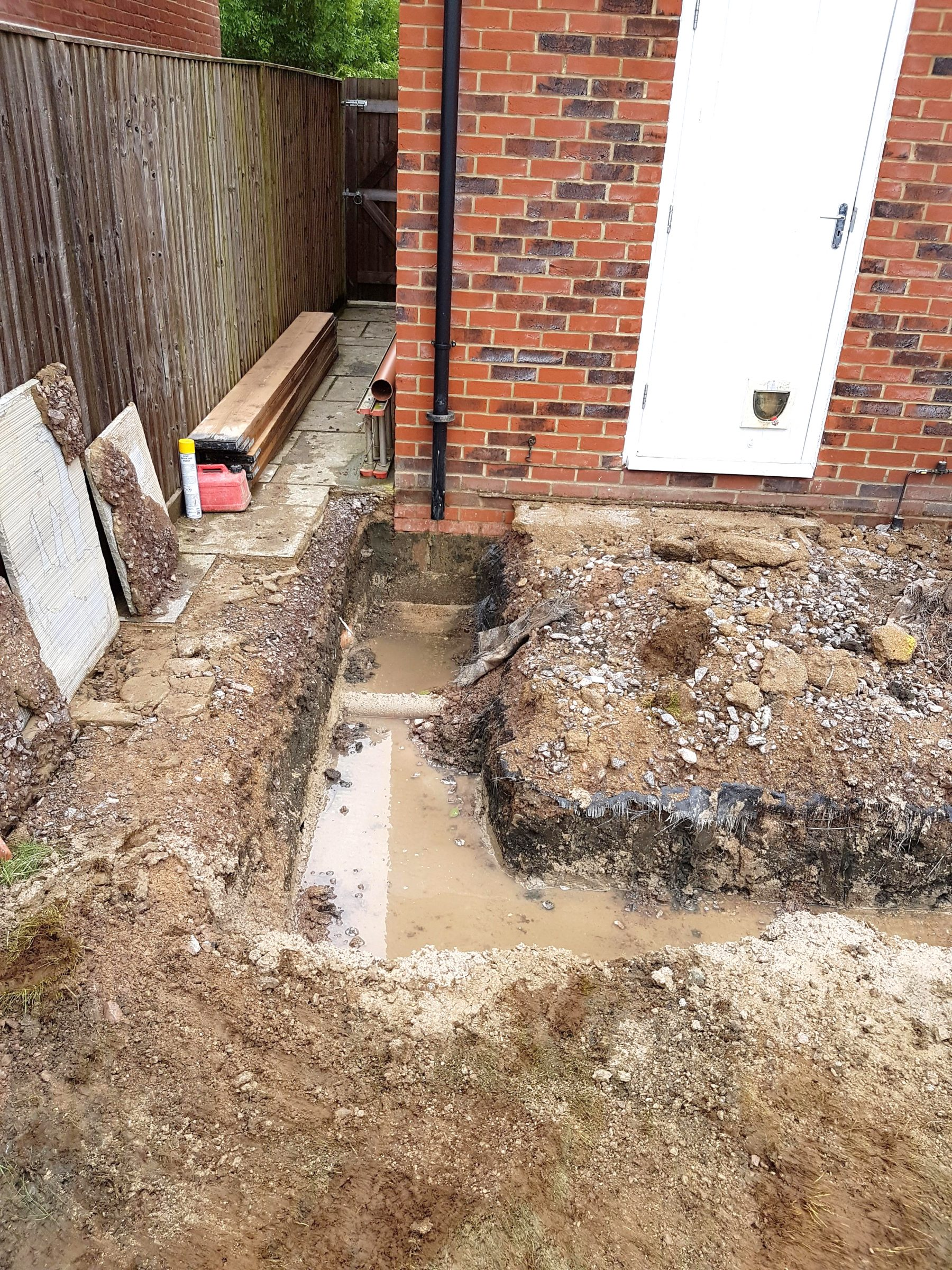 Ground work for single storey extension in Pewsey